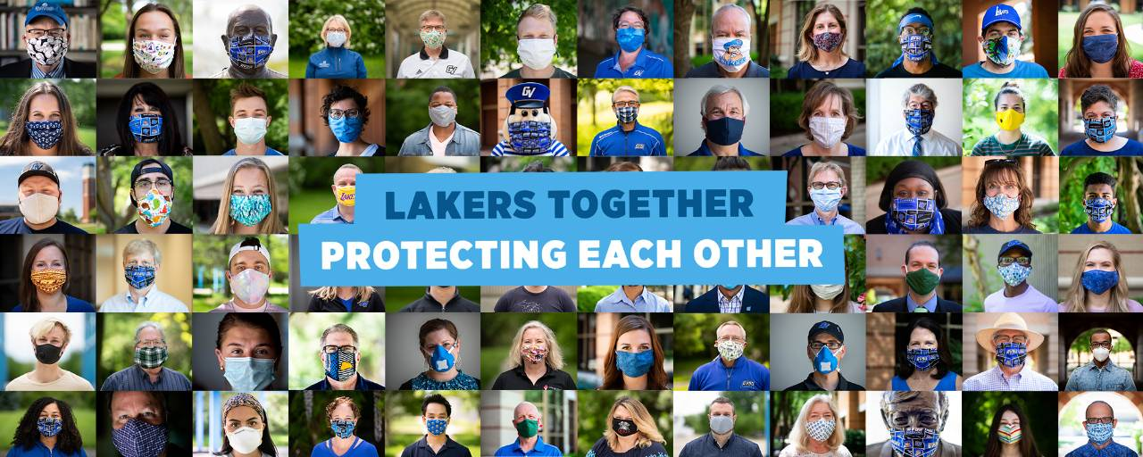 A collage of pictures of dozens of community members all wearing face coverings.